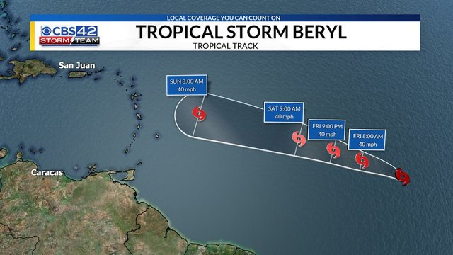 Tropical Depression #2 strengthens into Tropical Storm Beryl